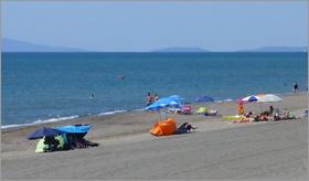Sunbathers along the Etruscan Riviera